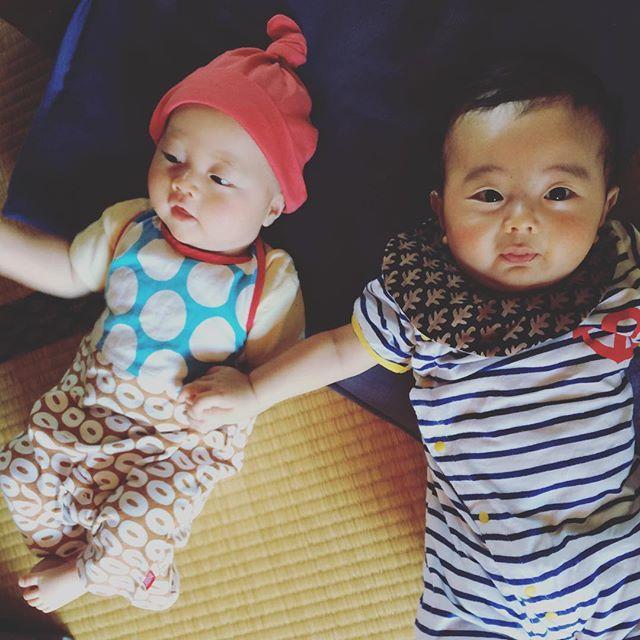 拓次とキューさんは仲良しなのです。顔が似てるのです。兄弟みたいに育つといいな〜