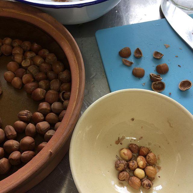 去年福富さんにもらったヘーゼルナッツようやく殻むき。ヌテラまでの道のり…
